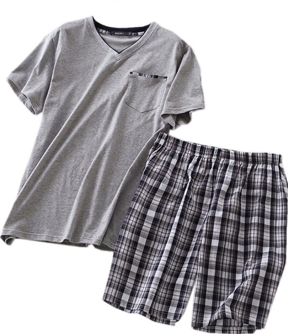 Amoy madrola Men's Cotton Soft Sleepwear/Short Sets/Pajamas Set SY227-V Grey-L by Amoy madrola
