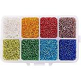 PandaHall Elite- 1 Boite/environ 12500pcs Mixte 12/0 Perles de Rocaille en Verre Perles Spacer Perle Rond, Style Mixte, Couleur Melangee, 2mm, trou:1mm
