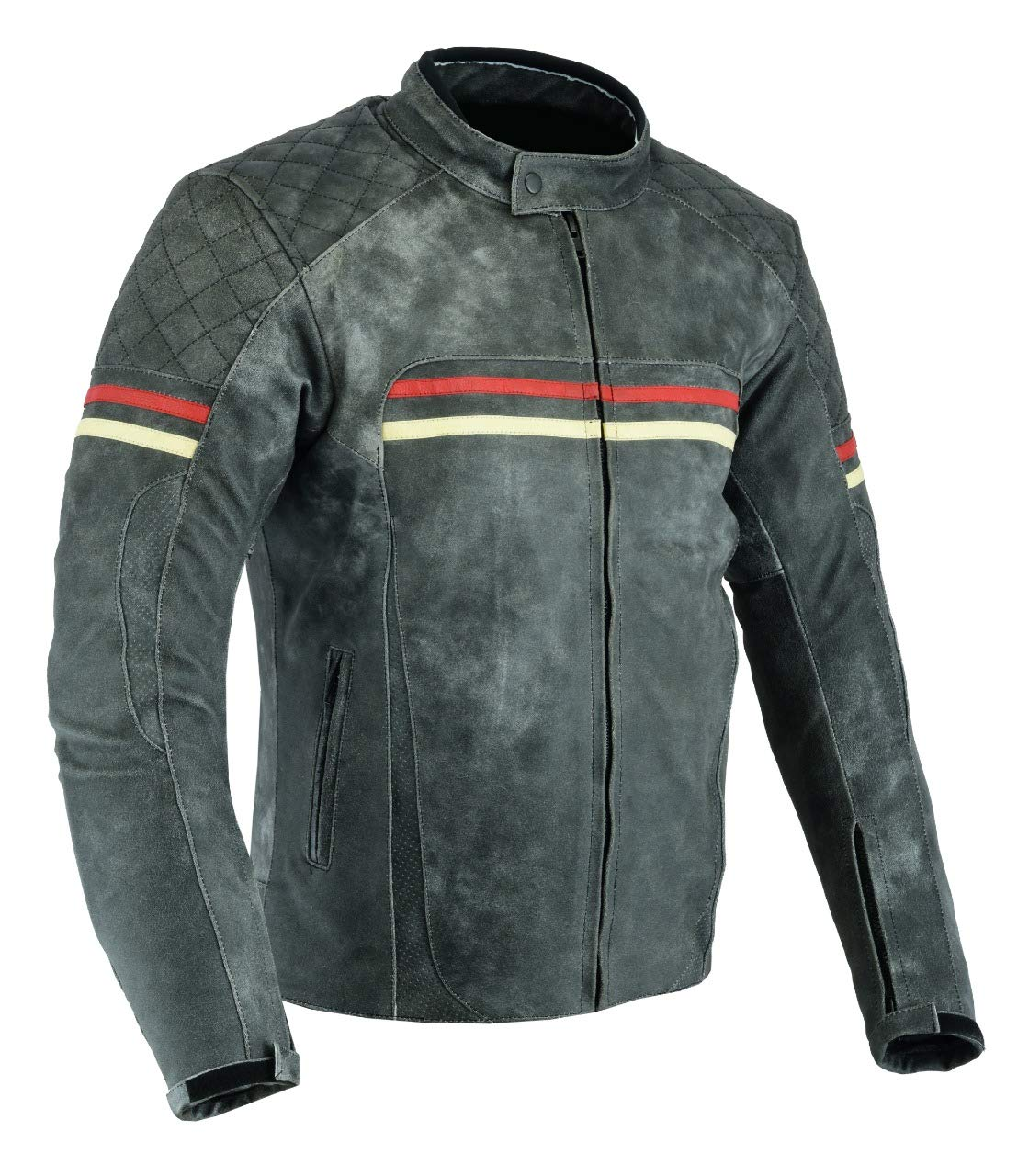 XXL MENS MOTORCYCLE ARMOURED MOTOR SPORTS HIGH PROTECTION MOTORCYCLE DISTRESSED LEATHER JACKET DC-4077