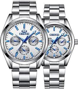 Par de relojes de mujer y hombre plata acero inoxidable relojes él o ella relojes de cuarzo
