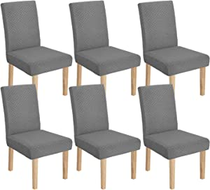 YEMYHOM Latest Checkered Dining Chair Slipcover Parsons Chair Furniture Protector Stretch Chair Covers for Dining Room, Restaurant, Kitchen, Party (6, Light Gray)