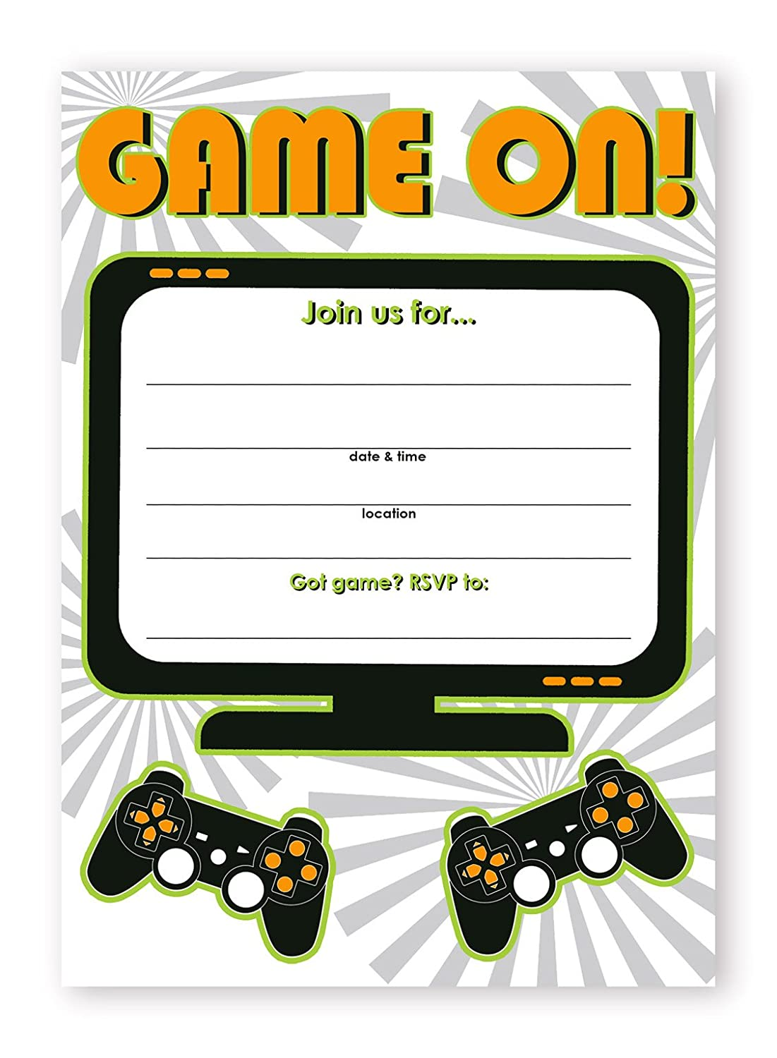 POP parties Gaming Party Large Invitations 20 Invitations 20 Envelopes