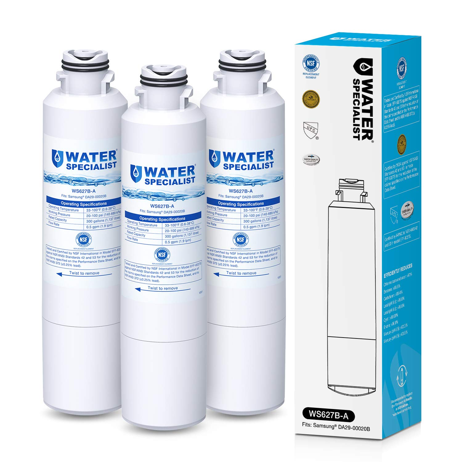 Waterspecialist NSF 53&42 Certified DA29-00020B Refrigerator Water Filter, Replacement for Samsung HAF-CIN, HAF-CIN/EXP, DA29-00020A/B, DA97-08006A, DA2900020B, RF28HMEDBSR, RF4287HARS (Pack of 3) by Waterspecialist