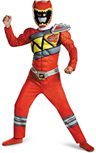 Power Rangers Muscle Costume For Boys Red Dino Charge Classic Kids Beast Morphers Ninja Dinosaur Red Ranger For Kids Large 10-12