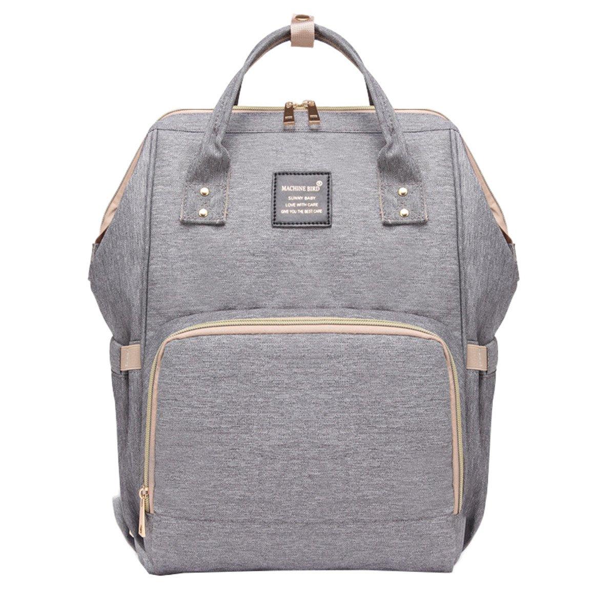 Quanjie Diaper Bag Multifunction Women Backpack Stylish Mummy Bag Nylon Nappy Bags Large Capacity Travel Waterproof Daypack(gray)
