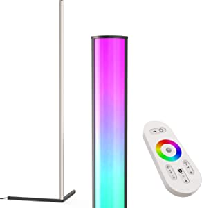 Aurora LED Corner Floor Lamp - Dimmable Color Changing RGB Light, Great for ambience and Mood Settings - Minimal Nordic Contemporary Modern Design for Livingroom Bedroom Office - 20W Black