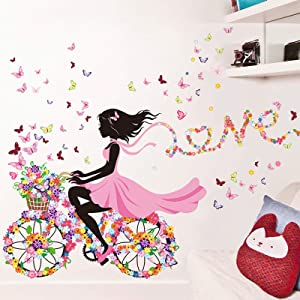Flower Fairy Girl Riding Bicycle with Butterfly & Flower Wall Decals for Girls Bedroom, Romantic Lovely Flowers Butterflies Girl Wallpaper Mural, DIY Wall Art Stickers Decor Home Decorations (A)