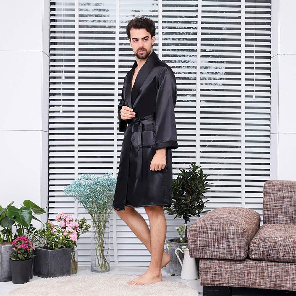 YANXH Peignoir en Soie pour Homme Robes De Kimono Manches Longues Chemises De Nuit Douces Et L/ég/ères en Satin pour Casual Spa Bathe Noir