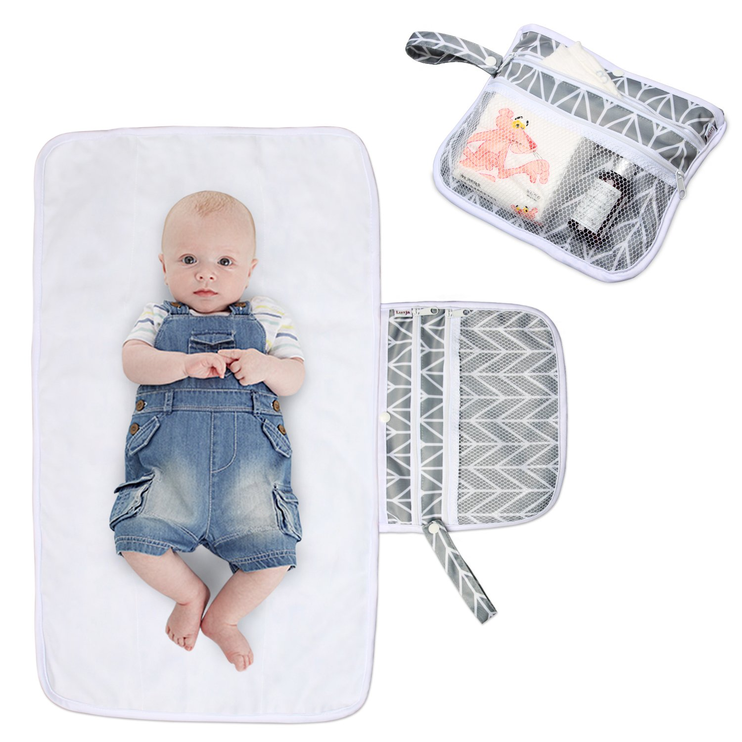 Luxja Portable Nappy Changing Mat (NON-BULKY), Baby Changing Mat with Pockets, Baby Changing Pad for Home or Travel Use, Foldable and Machine Washable, Grey Chevron