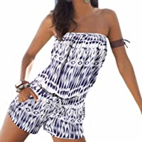 f4a9b5bfe9 WINSON Summer Women Fashion Printed Strapless Jumpsuits Beach Boho  One-Pieces S-Xl