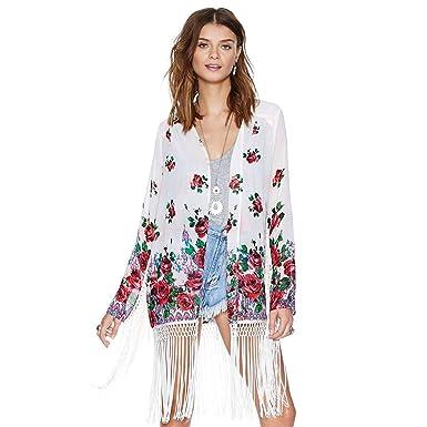 bbfb0bf876ac9 Boho Floral Tassels Fringe Kimono Cardigan Long Sleeve Beach Cover Up Jacket  Top (xs: