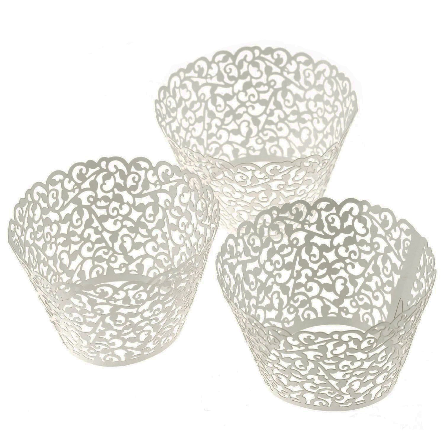LEFV™ 24pcs Cupcake Wrapper Filigree Little Vine Lace Laser Cut Liner Baking Cup Muffin Case Trays Wraps Wedding Birthday Party Decoration Silver