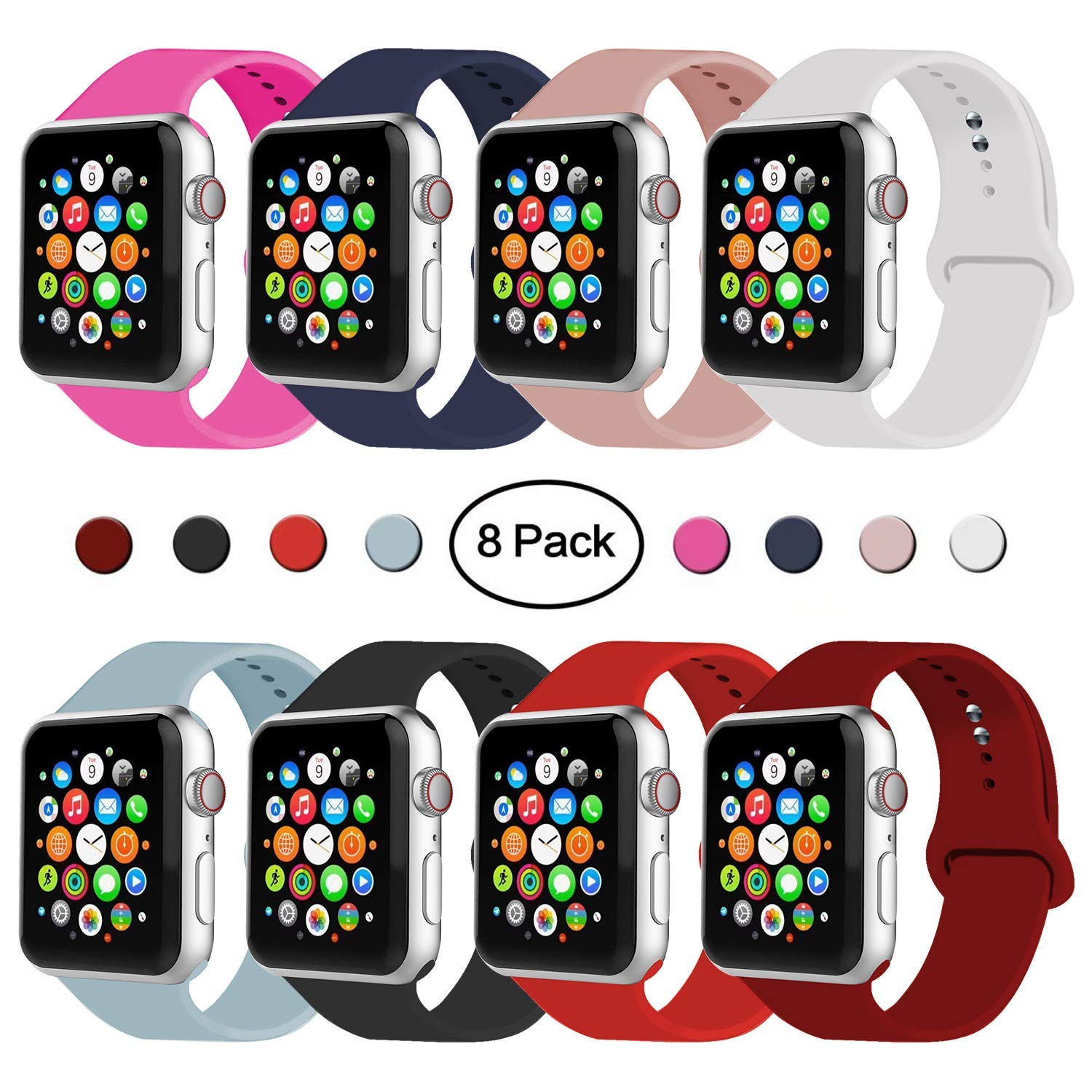 IYOU Sport Band Compatible with Watch Band 38MM 42MM 40MM 44MM, Soft Silicone Replacement Sport Strap Compatible with 2018 Watch Series 4/3/2/1 (8 PACK,42MM, S/M) by IYOU