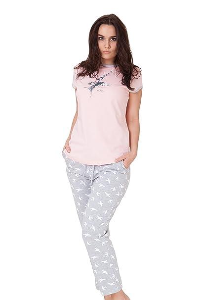 M-MAX Pijamas de Noche Para Mujeres Chica Dos Piezas Pantalones Largos Algodón S M L XL