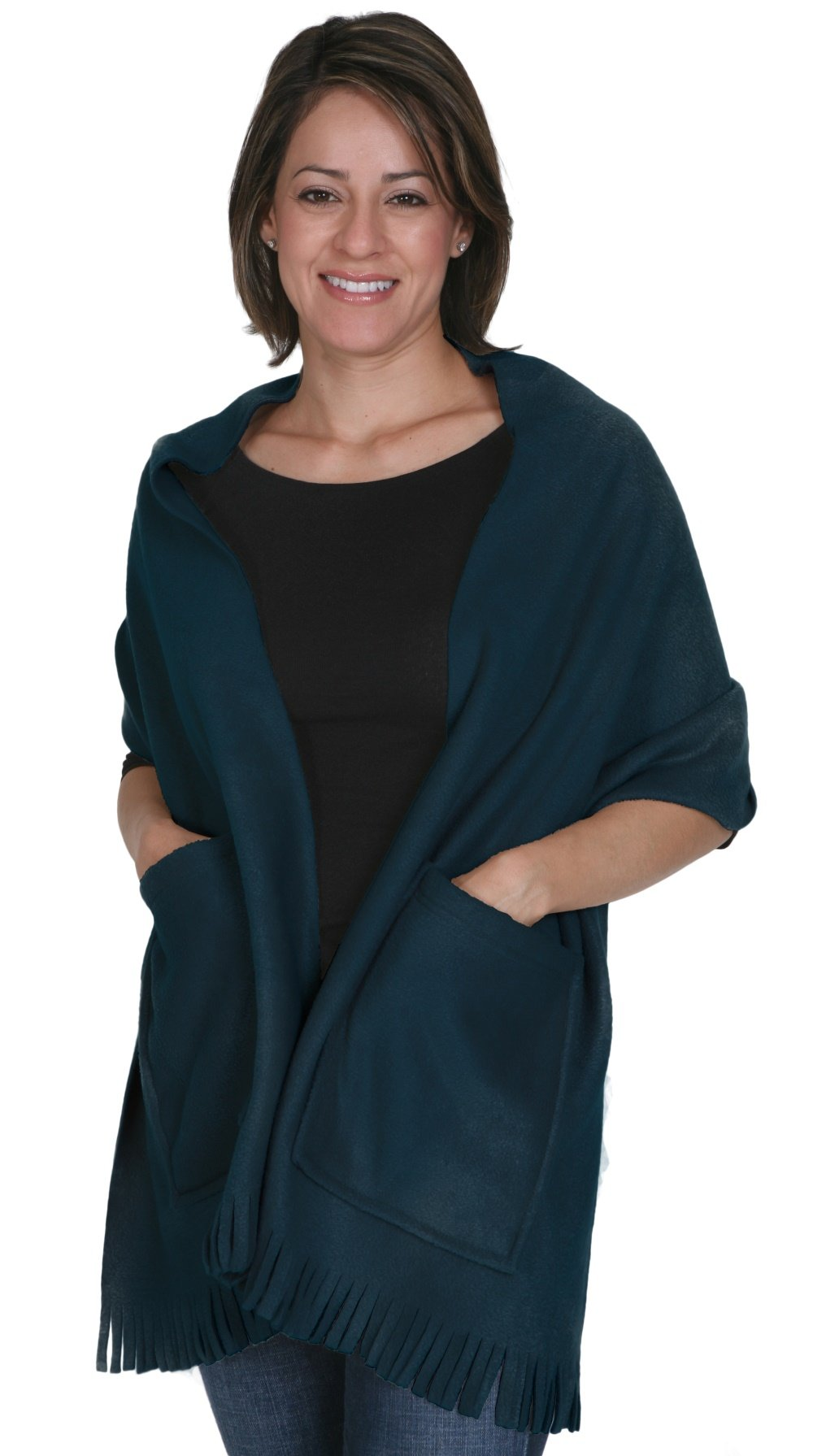 KC Caps Soft Fleece Fringed Shawl Wrap Shoulder Winter Scarf with Pockets Navy