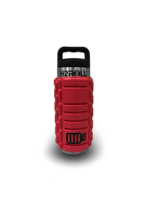 H2ROLL | Foam Roller | Insulated Water Bottle | All-in-One | Foam Roller with Water Bottle| (Red, 18oz) best foam roller