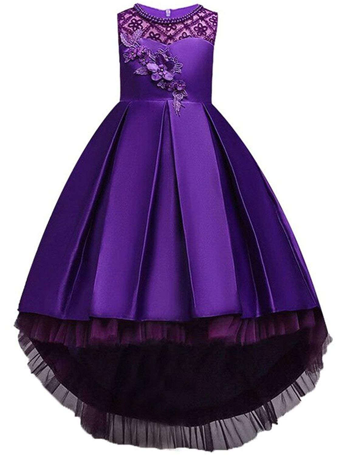 8191889133c3 Formal Dresses for Little Girls 5 Years Old Ball Gown Sleeveless Floral  Girl Dress Size 6 Dark Purple Graduation Holiday Dress for Kids Knee Length  Tutu ...