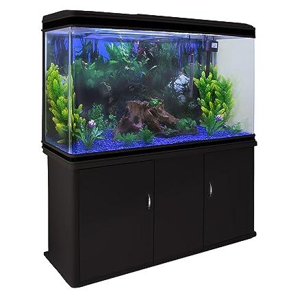 MonsterShop - Acuario 300 litros con Mueble Negro y Grava Azul 143cm x 120cm x 39cm