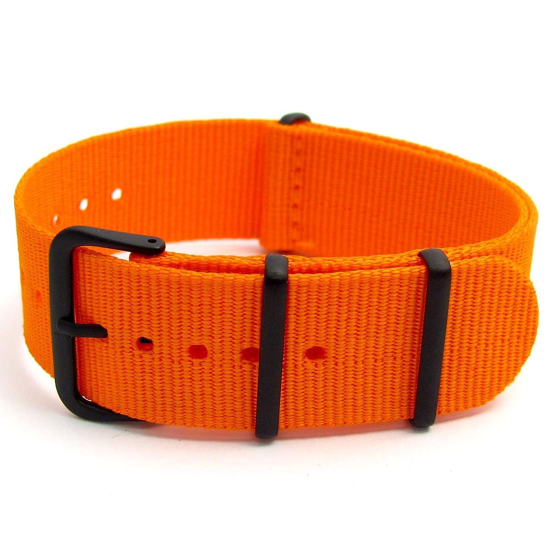 オレンジミリタリースタイル時計バンドストラップウェビングキャンバスThread Thruプレーン、ストライプ、& Camoブラックバックル24 mm  B01IIC1Z2S