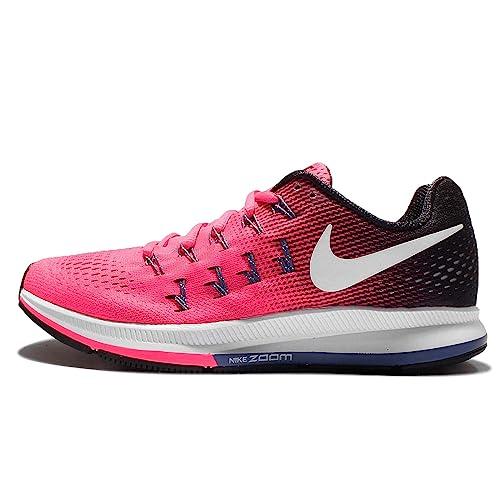 d4b2789e6561 Nike Women s Air Zoom Pegasus 33 Running Shoe Pink Blast Black Dark Purple  Dust White 5 B(M) US  Amazon.in  Shoes   Handbags