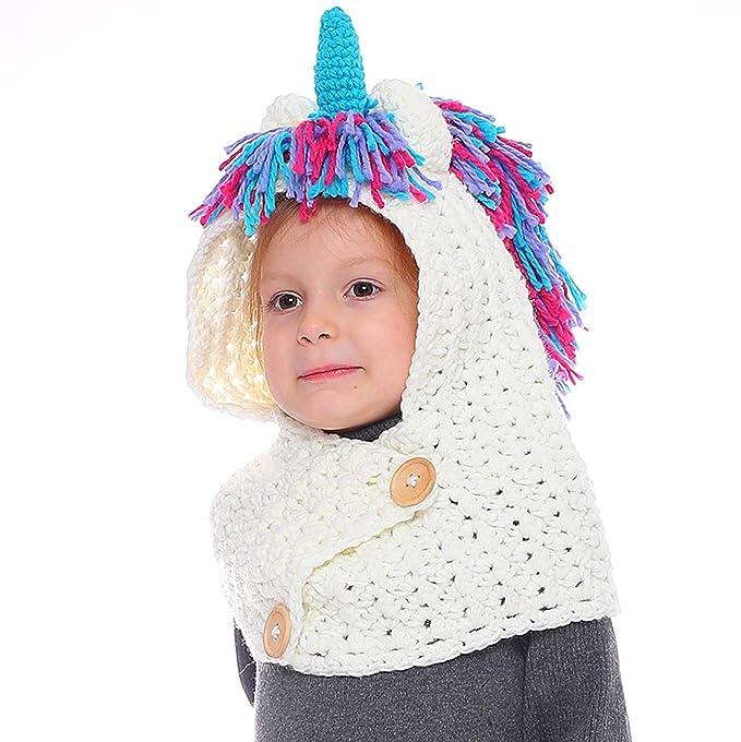 Tacobear Bambino Unicorno Cappelli Maglia Inverno Sciarpa Animale Cappelli  Scialli Cappello Unicorno Autunno Inverno Sciarpa Maglia f21d388314b1