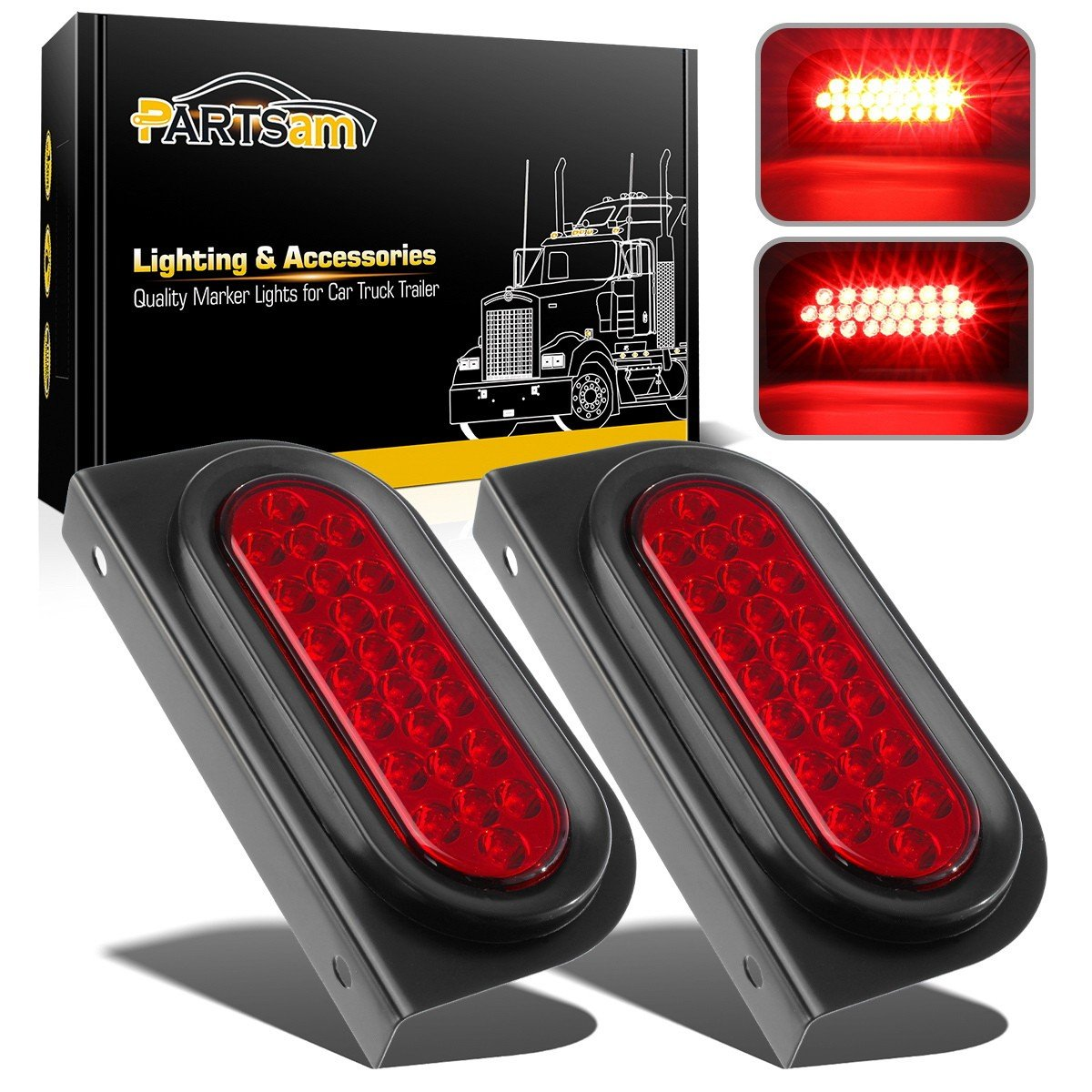 Partsam 2pcs Waterproof 6'' inch Oval Sealed Stop Turn Tail Brake Marker Red 24 LED Truck Trailer Light Kit Flush Mount w/Mounting Brackets by Partsam