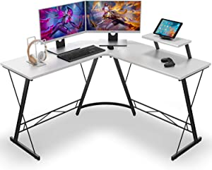 Coleshome L Shaped Desk Home Office Desk with Shelf, Gaming Computer Desk with Monitor Stand, PC Table Workstation with Shelf, White