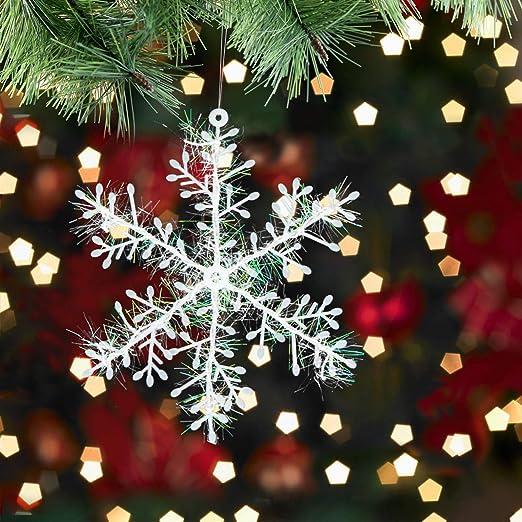 12//60x Schneeflocken Snowflakes Christbaumschmuck Aufhängen Weihnachtsbaumdeko