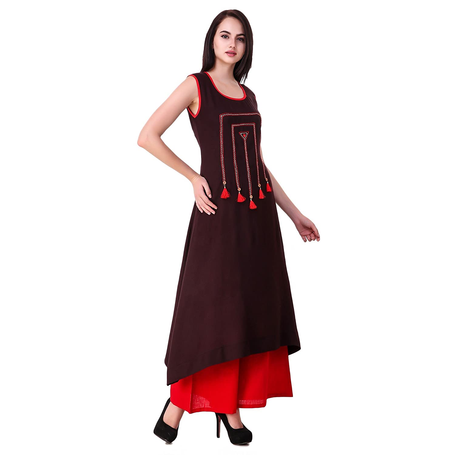 5a5729364bd64 Sreshee Women's Cotton Designer Kurti with Palazzo Pants Set: Amazon.in:  Clothing & Accessories