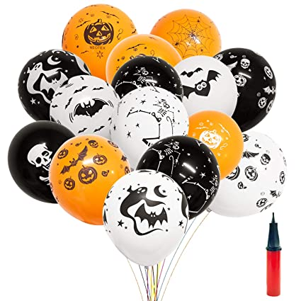 100 Pcs Thick Latex Halloween Balloons With A Free Pump 12 Type Pumpkin Ghost