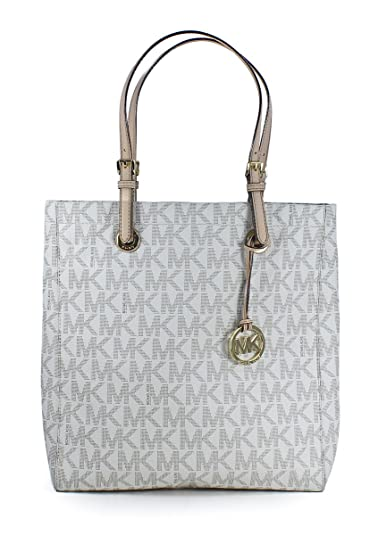 c189a82b441035 ... buy amazon michael kors jet set item north south pvc signature tote bag  in vanilla shoes ...