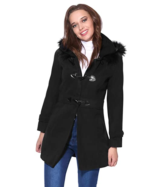 bb7b043618b5b KRISP® Women Parka Belted Fitted Military A Line Woollen Duffle Trench  Toggle Coat  Amazon.co.uk  Clothing