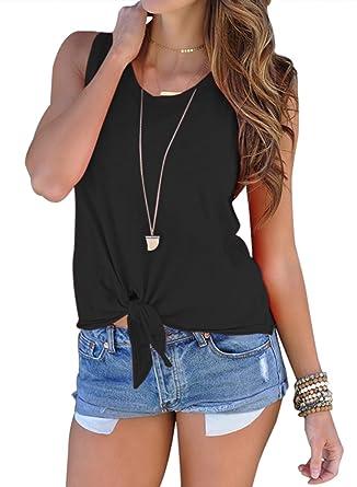 323a43f15dc1b karbin Women s Casual Sleeveless Blouse Front Tie Knot Shirt Summer Cami Tank  Tops(Black