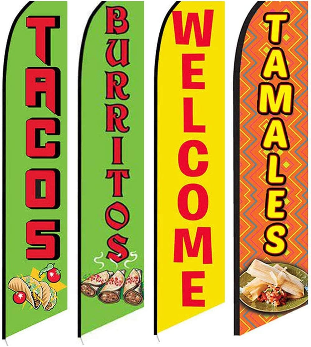 4 Swooper Flags Mexican Food Restaurant Taco Burrito Tamales Welcome Yellow Red