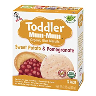 Hot-Kid Toddler Mum-Mum Rice Biscuits, Organic Sweet Potato & Pomegranate, 24 Pieces (Pack of 6) Organic, Gluten Free, Allergen Free, Non-GMO, Rice Teether Cookie for Toddlers
