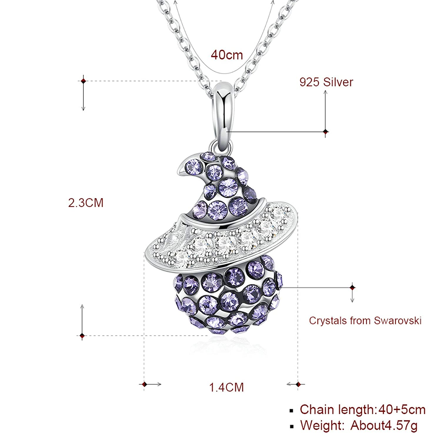 EoCot 925 Sterling Silver Women Necklace Witch with Crystal Pendant Necklace for Women Girls Gifts for Your Love