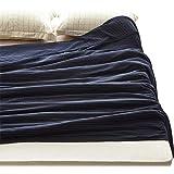 ガーゼケット 三重ガーゼ タオルケット 綿100% 吸湿速乾 丸洗いOK (シングル・140X190cm, ストライプ・ネイビー)
