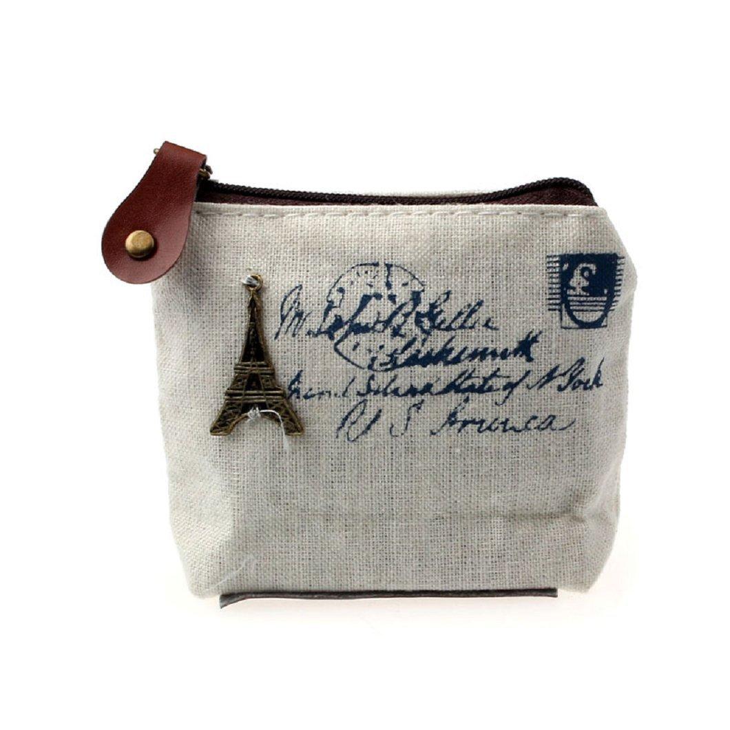 DZT1968(TM)Women Canvas Retro Small Mini Square Eiffel Wallet Coin Purses Clutch Money Pouch Bags Gift (White)
