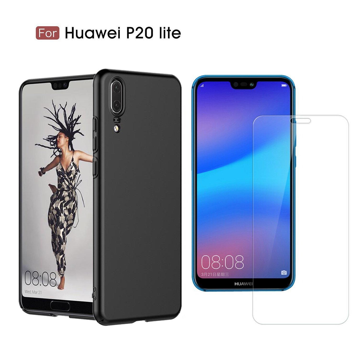 Huawei P20 Lite Case, with Huawei P20 Lite Screen Protector Tempered Glass Screen Film, Back Cover Case Ultra Slim PC Protective Shell Hard Shield Back Cover for Huawei P20 lite/Nova 3e