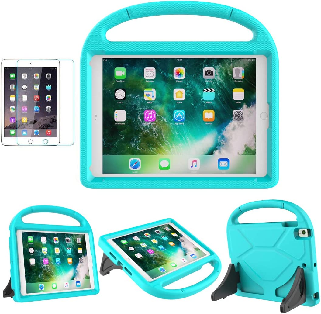 """iPad 9.7"""" 2018(Gen 6) / 2017(Gen 5) Case for Kids - SUPLIK Duable Shockproof Protective Handle Bumper Stand Cover with Screen Protector for 9.7 inch iPad 5/6,Air 1/2,Pro 9.7, Teal"""