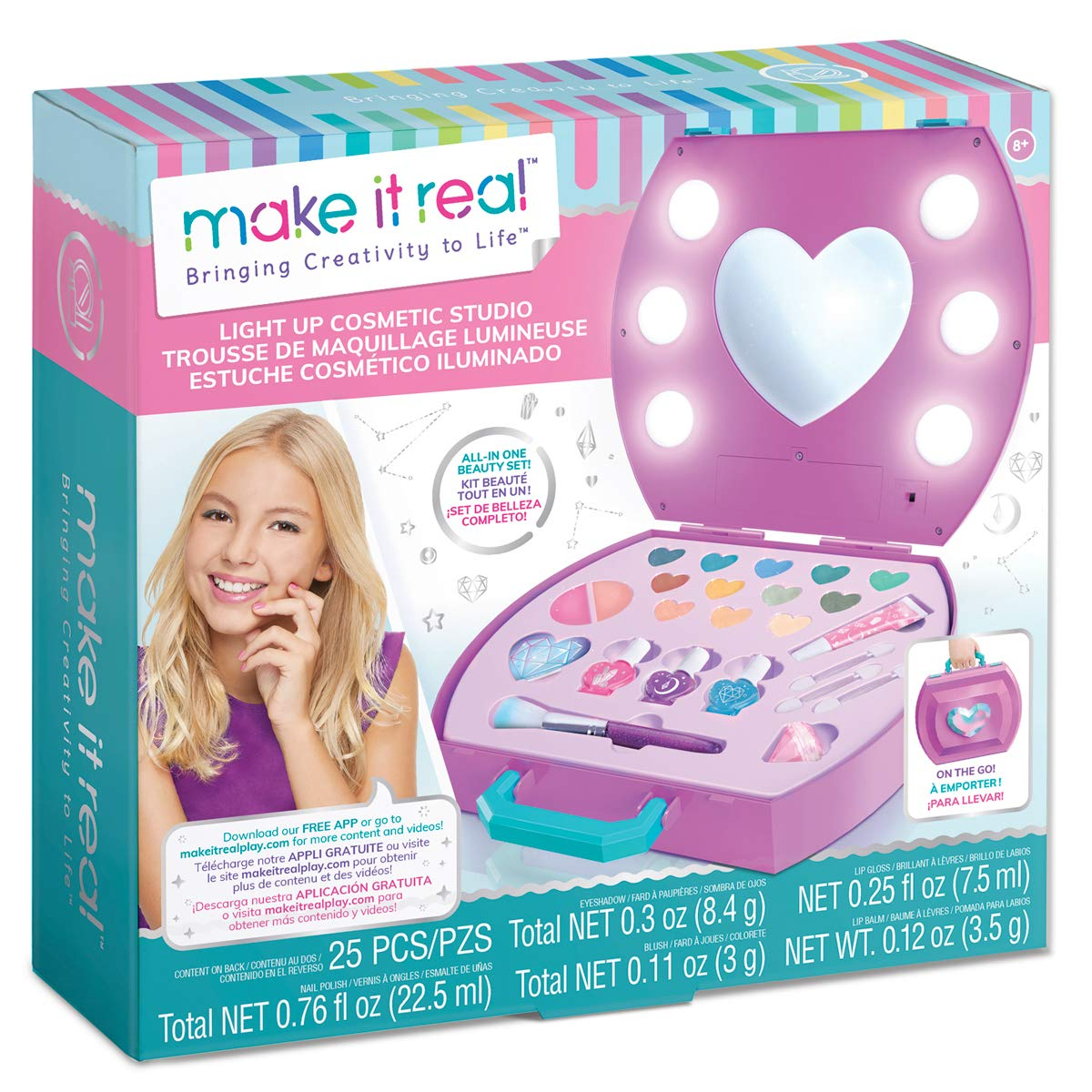 Make It Real - Light-Up Cosmetic Studio - Kids Makeup Case with Mirror and Lights for Girls and Tweens - Includes Eyeshadow, Nail Polish, Blush, Lip Gloss, Nail File, Makeup Brushes by Make It Real