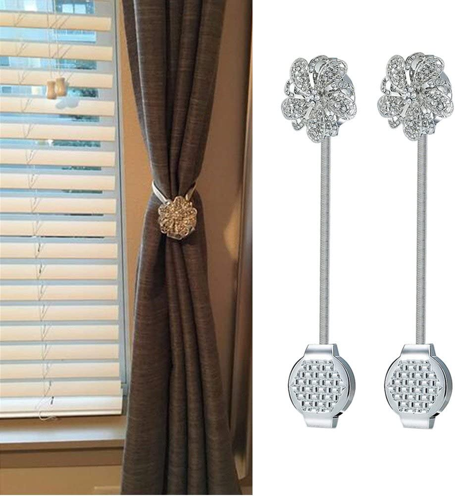 Silver Flower Living Room Sycle circle 4 Pack Magnetic Curtain Tie Backs Decorative Crystal Curtain Holdbacks for Bedroom Office