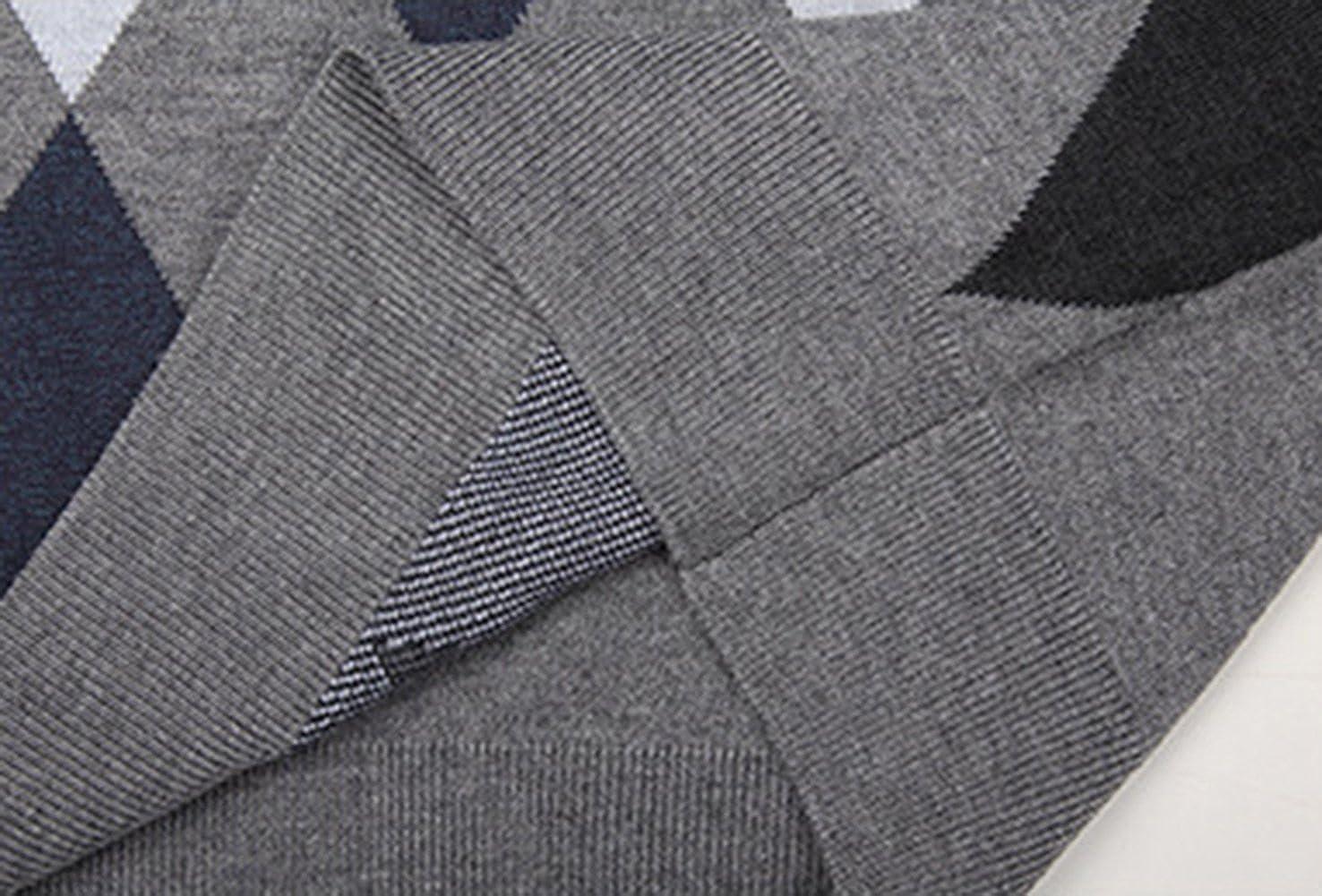 FULIER Winter Mens Gilet V-Neck Sleeveless Vest Waistcoat Classic Business Gentleman Argyle Pattern Design Soft Knitwear Warm Sweater Tank Tops