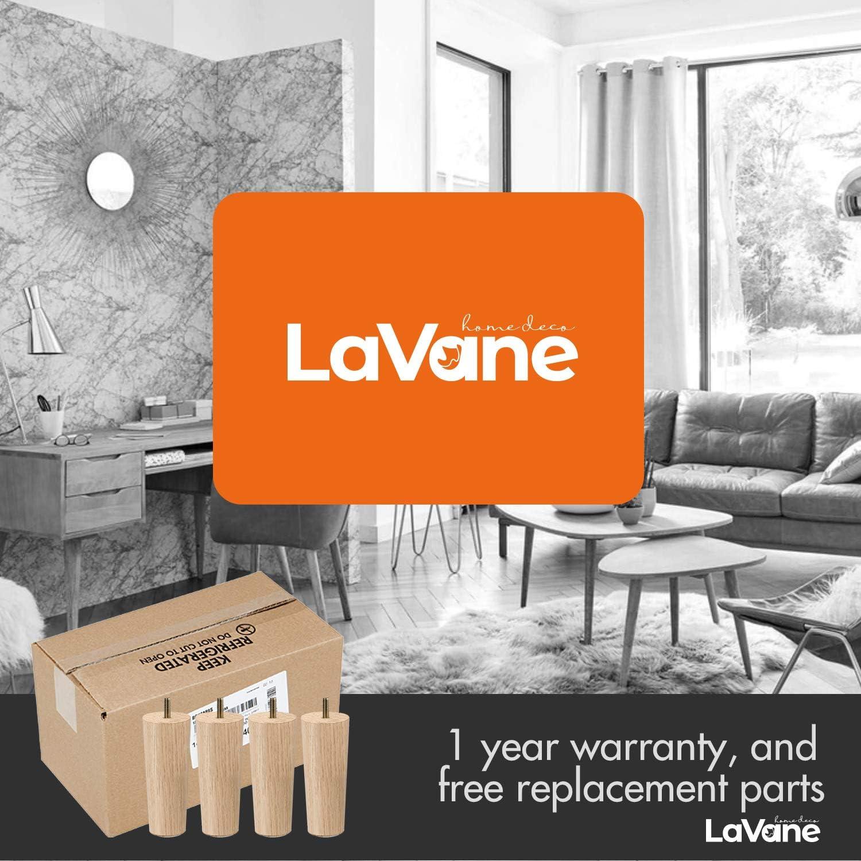 plaque de montage et vis pour canap/é placard ottoman La Vane Lot de 4 pieds de meubles en bois massif conique M8 avec boulons pr/é-perc/és de 1,59 cm