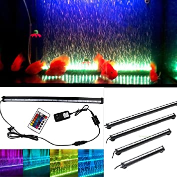 Kit de luz LED para acuario con burbujas, cortina de aire bajo el agua para tanque de peces, luz flexible que cambia de color con ventosa: Amazon.es: ...