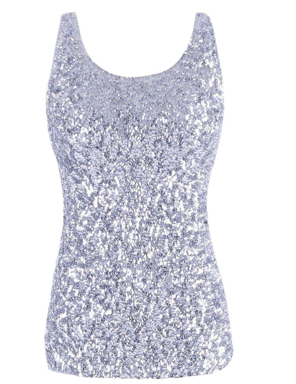 kayamiya Women's 1920S Style Glitter Sequined Vest Tank Tops L Silver
