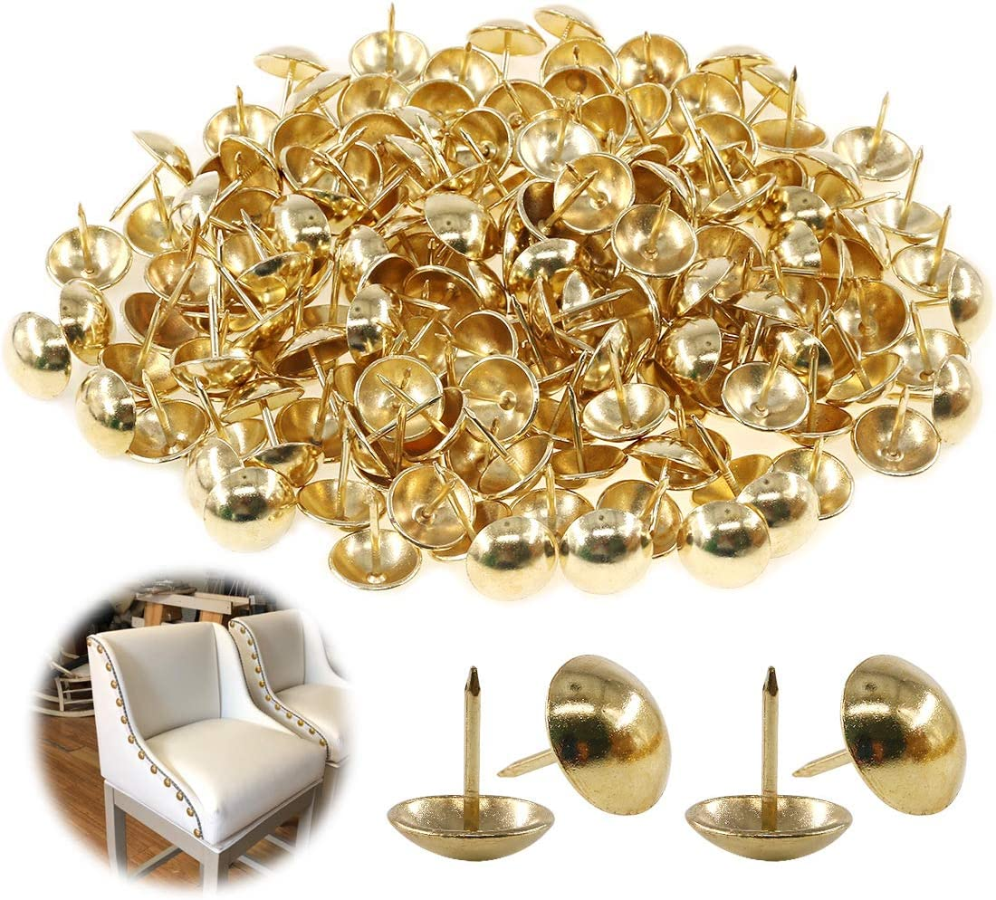 """Keadic 200Pcs 3/4"""" (19mm) Antique Upholstery Tacks Furniture Nails Pins Assortment Kit for Upholstered Furniture Cork Board or DIY Projects - Gold"""
