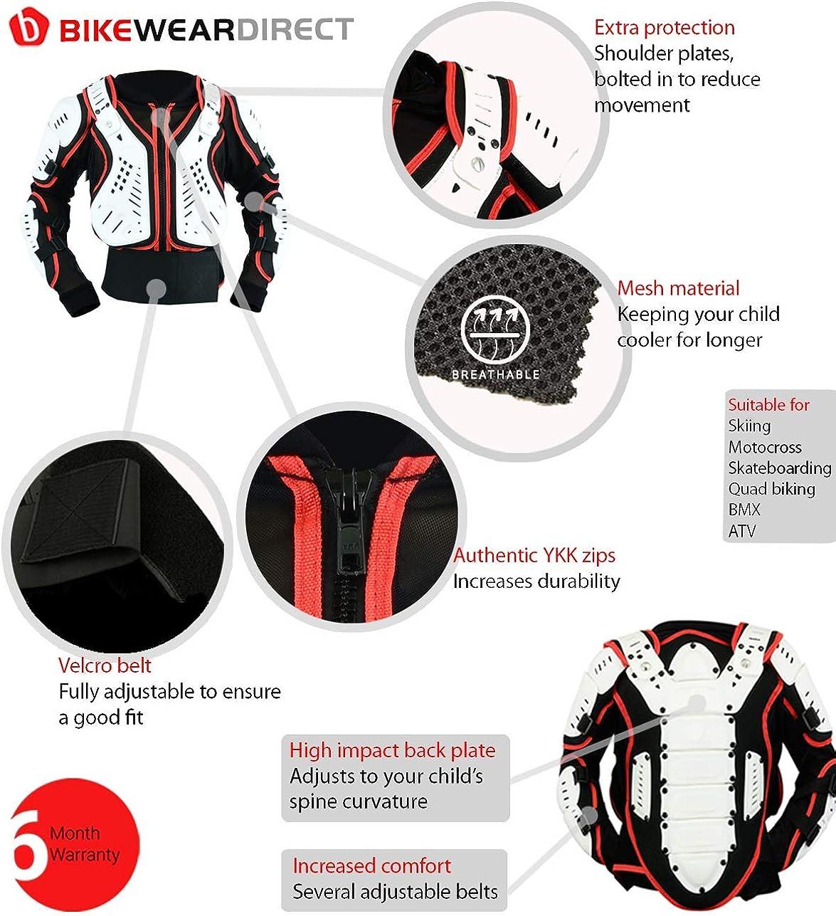 Texpeed Kinder Motorradjacke Für Motocross Enduro Sport Mit Protektoren 4 6 8 10 12 14 Jahre Bekleidung