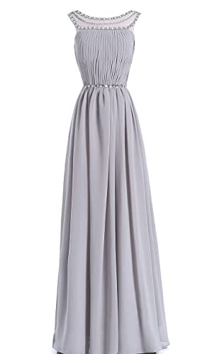 LANGBOHAI Gray Long Evening Dress for Women Formal with Beaded Sheer Neckline and Back