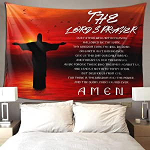 Christian Tapestry,Jesus Tapestry with Prayer for Bedroom Aesthetic, Red Small Tapestry Serenity Prayer Wall Decor for Wall Hanging Room Decor Living Room 60×40 in